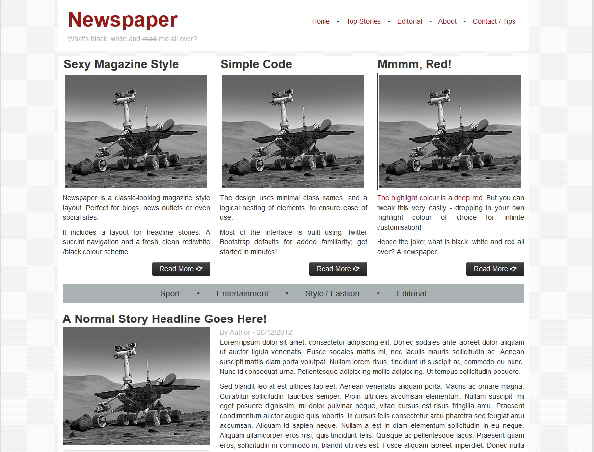 Newspaper Homepage Template