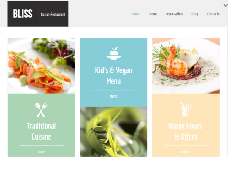 Bliss Restaurant Webpage Template