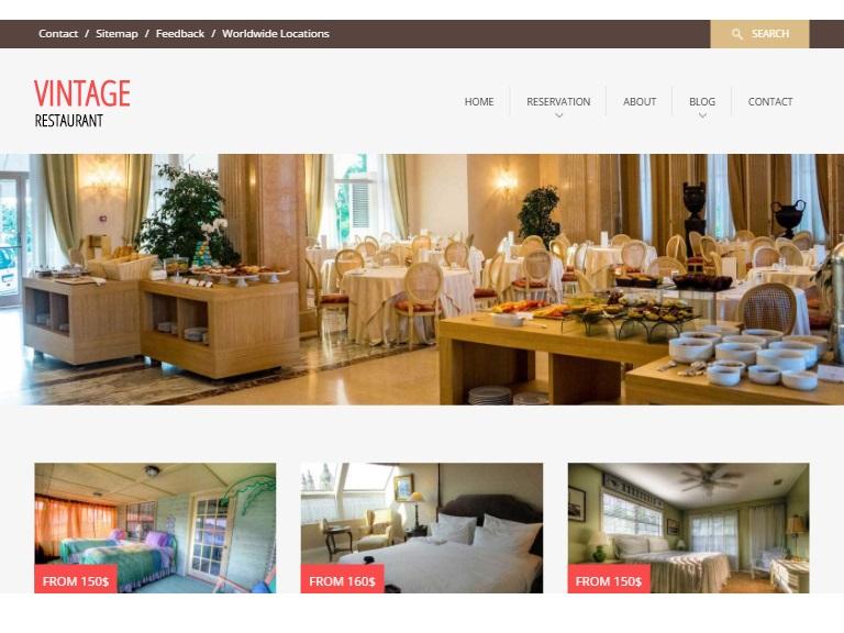Vintage Restaurant Hotel Webpage Template