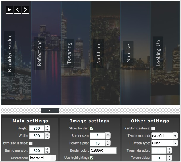 accordion image menu