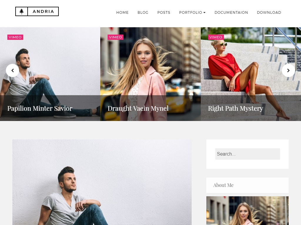Andria Free Fashion Blog Template