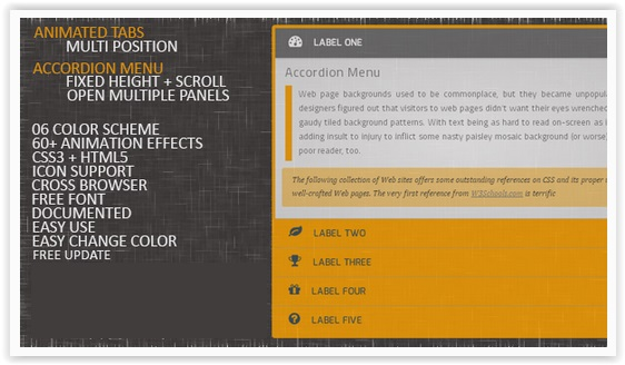 css3 Animated Accordion Menu