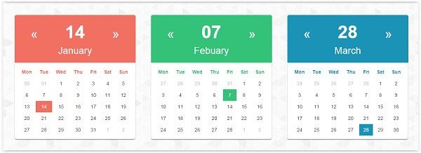 css3 Calendar Template