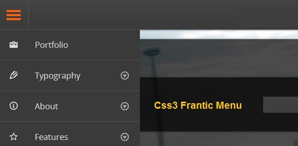 css3 Frantic Menu Navigation