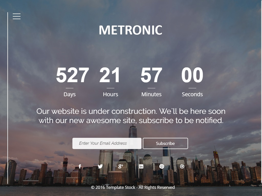 metronic free coming soon under construction template