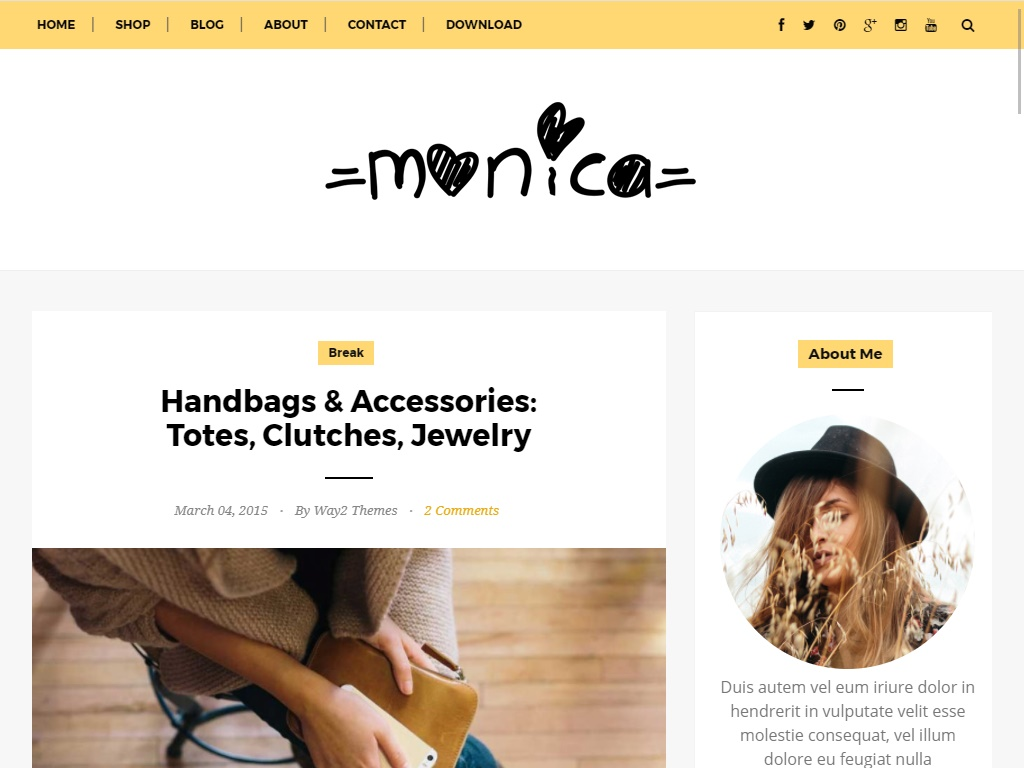 Monica Free Fashion Blog Template