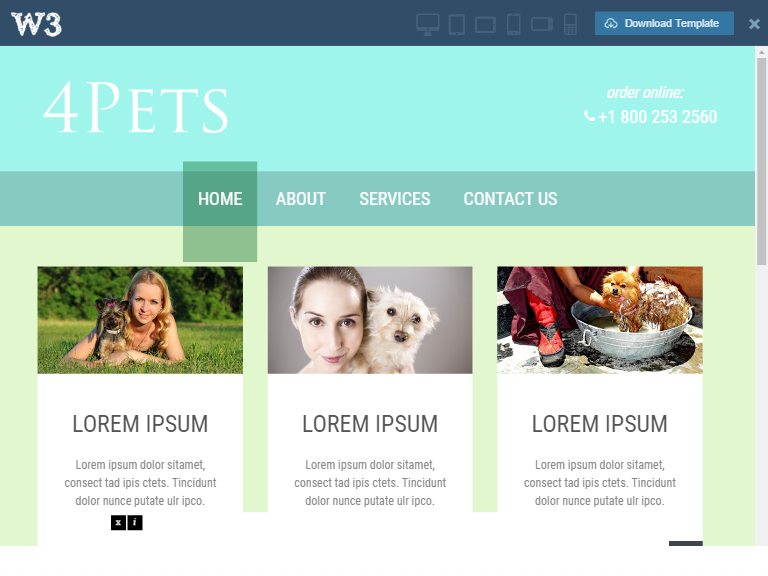 Pet Website Templates Free And Premium Free Website Templates - Information website template