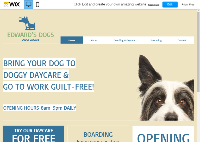 Free Dog day care in pet website templates