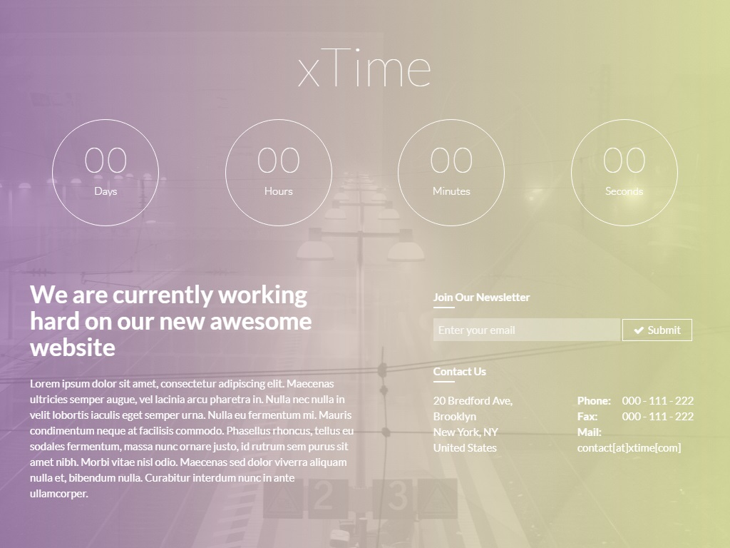xtime free coming soon under construction template